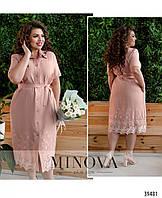 Элегантное женское платье-рубашка украшен очаровательной вышивкой и нежным кружевом с 52 по 62 разм