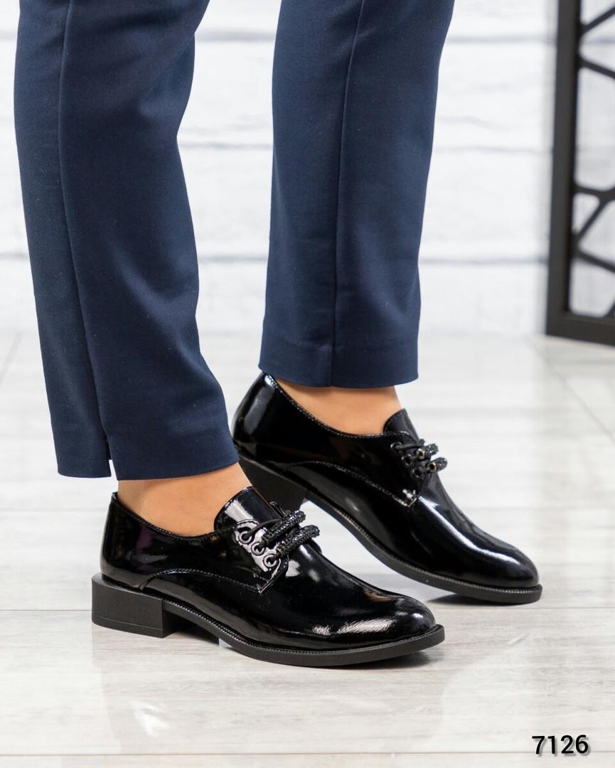 Женские черные Туфли на шнуровке. Размер 40