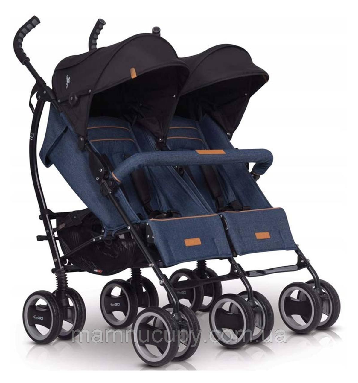 Детская прогулочная коляска для двойни EasyGo Duo Comfort Denim