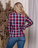 Стильная модная рубашка в клетку с длинным рукавом, три цвета р.50,52,54,56 код 5166А, фото 6