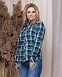 Стильная модная рубашка в клетку с длинным рукавом, три цвета р.50,52,54,56 код 5166А, фото 3