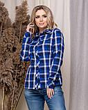 Стильная модная рубашка в клетку с длинным рукавом, три цвета р.50,52,54,56 код 5166А, фото 8