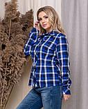 Стильная модная рубашка в клетку с длинным рукавом, три цвета р.50,52,54,56 код 5166А, фото 9