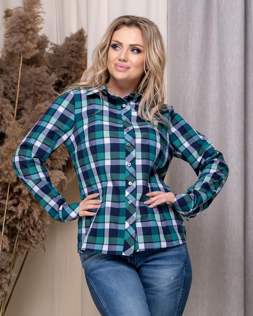 Стильная модная рубашка в клетку с длинным рукавом, три цвета р.50,52,54,56 код 5166А