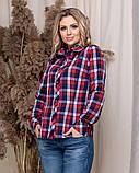 Стильная модная рубашка в клетку с длинным рукавом, три цвета р.50,52,54,56 код 5166А, фото 5