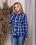 Стильная модная рубашка в клетку с длинным рукавом, три цвета р.50,52,54,56 код 5166А, фото 7