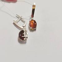 Серебряные серьги с золотом и натуральным янтарем Лилу, фото 1