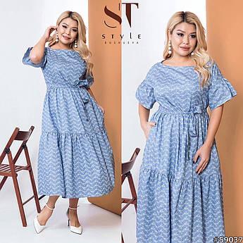 Джинсовое длинное платье, голубой