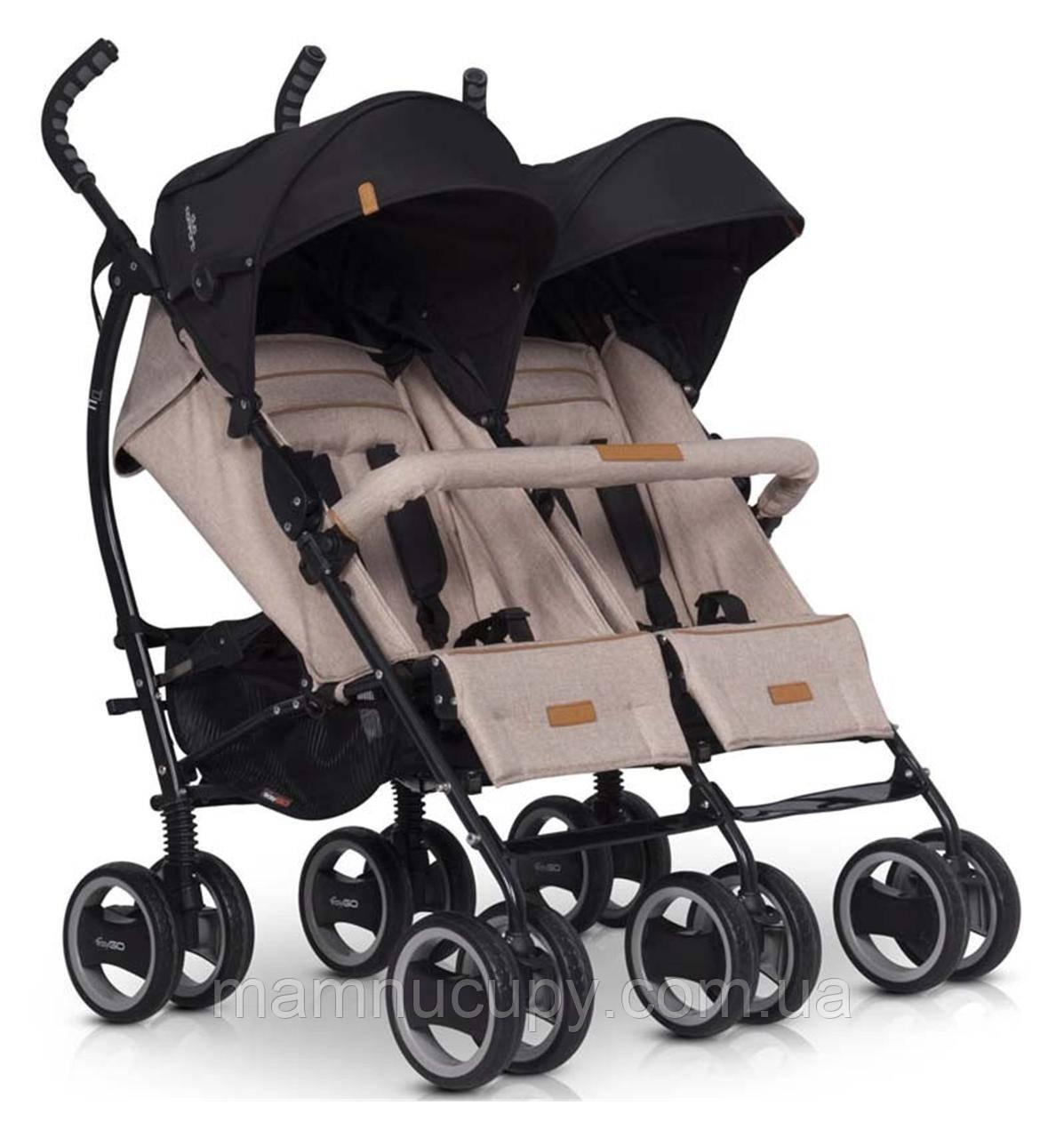 Детская прогулочная коляска для двойни EasyGo Duo Comfort Sand