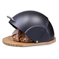 Хлебница деревянная с чёрной откидной крышкой Kamille 36x26x19 см