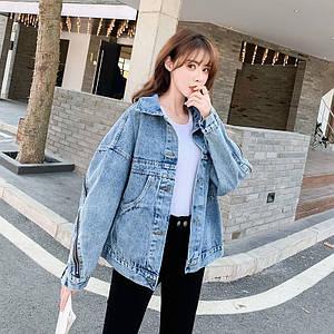Женская джинсовая куртка с декоративной змейкой с 42-46 р