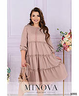Элегантное платье  А-силуэта с тремя рядами оборок с 48 по 58 размер, фото 1