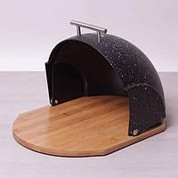 Хлебница чёрная мраморная Kamille с деревянным основанием 38*26,5*19 см