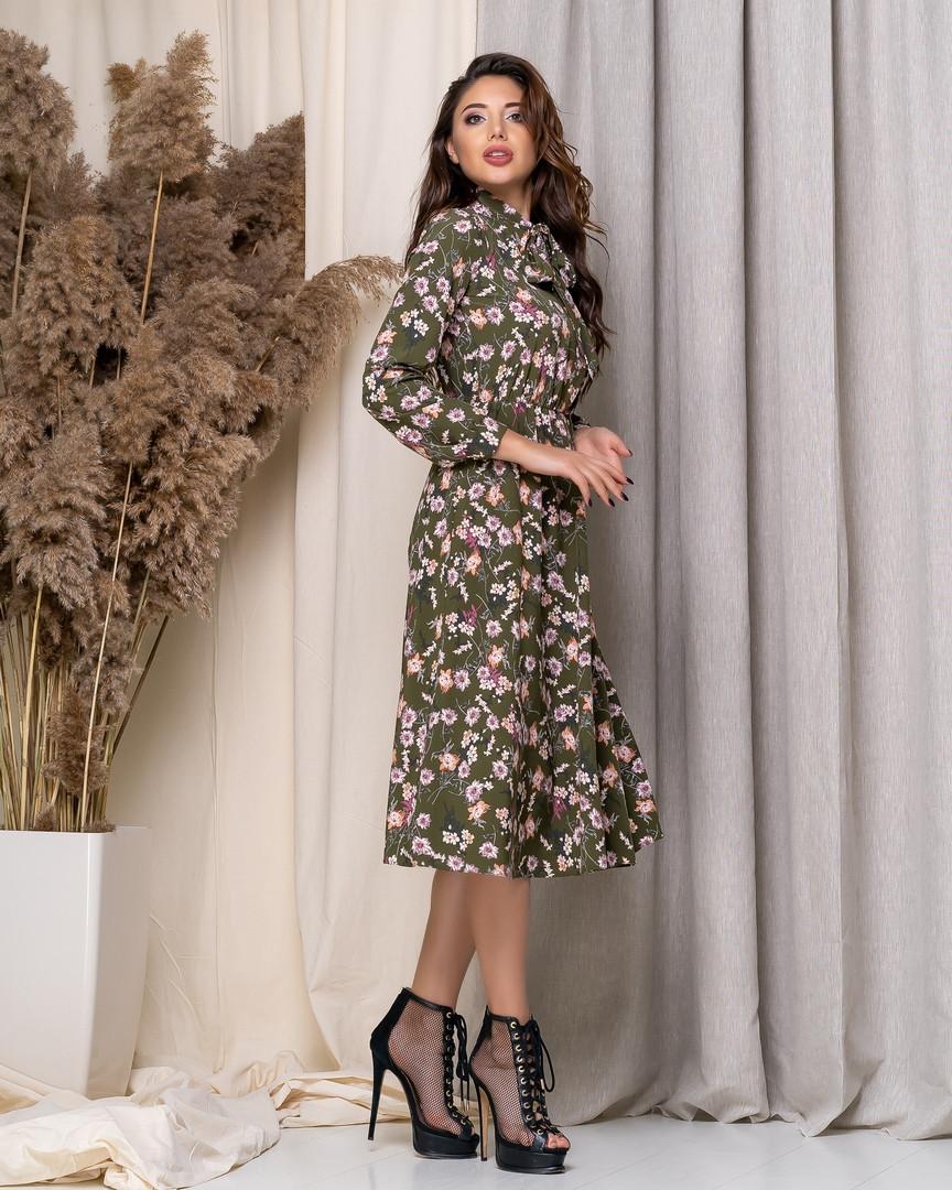 Летнее платье длиной миди с длинным рукавом из принтованной ткани, три цвета, р.42,44,46,48 код 449А