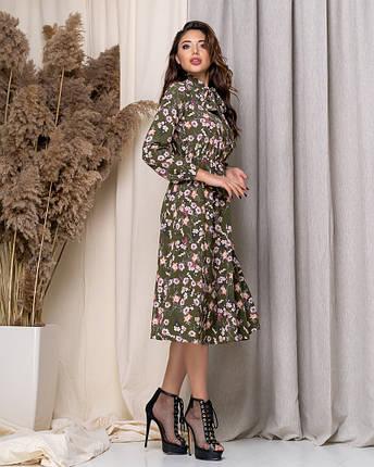 Летнее платье длиной миди с длинным рукавом из принтованной ткани, три цвета, р.42,44,46,48 код 449А, фото 2