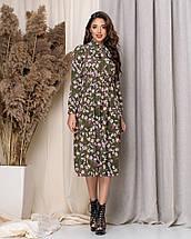 Летнее платье длиной миди с длинным рукавом из принтованной ткани, три цвета, р.42,44,46,48 код 449А, фото 3