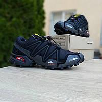 Мужские кроссовки Salomon Speedcross 3 чёрные (серая надпись) плотная сетка