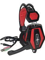 Игровые наушники с микрофоном и LED подсветкой FIRECAM  X-9MAX черные\красные