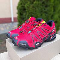 Мужские кроссовки Salomon Speedcross 3 красные плотная сетка