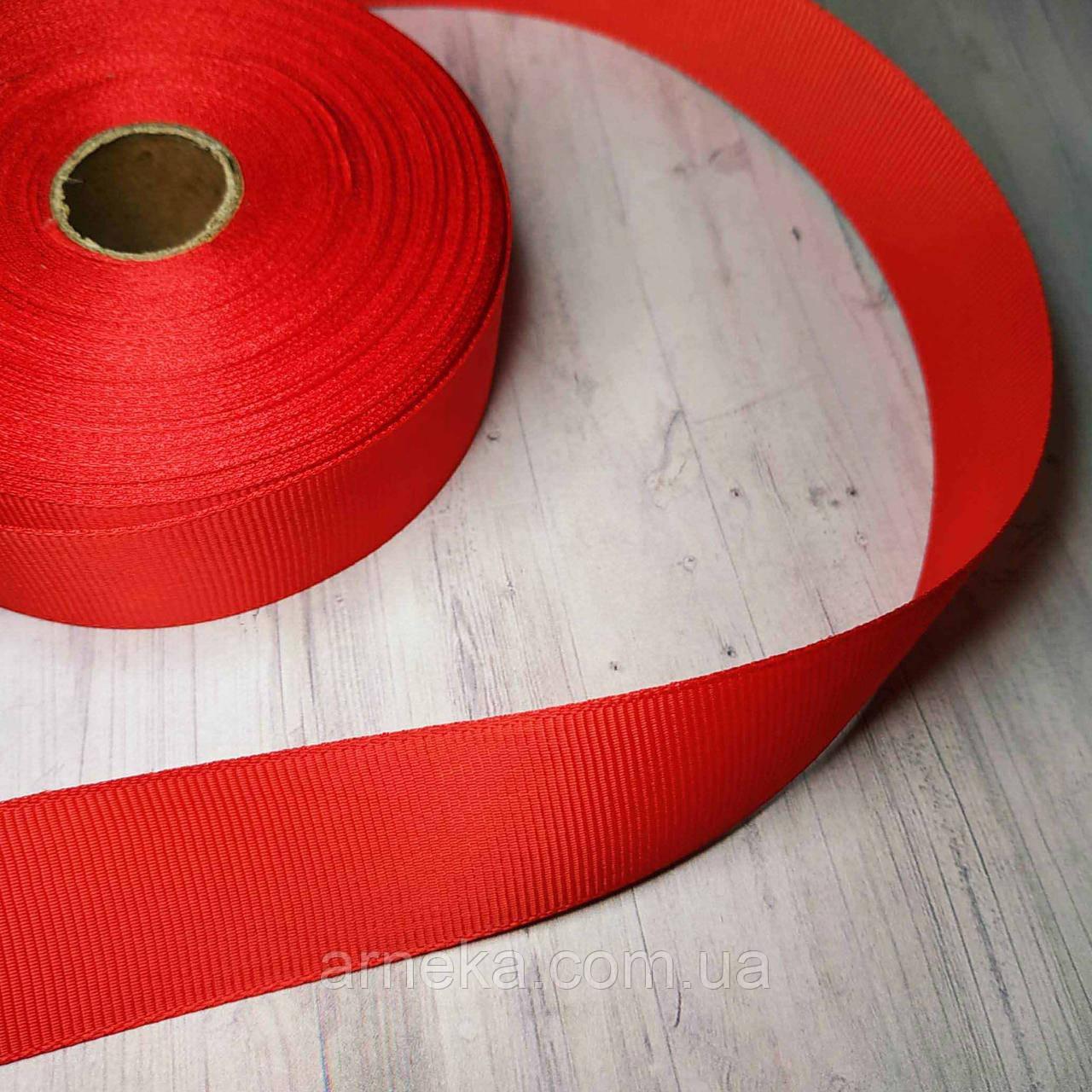 Репсова стрічка 2,5 см червона