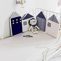 Бортик защита в детскую кроватку Домик синий 120см