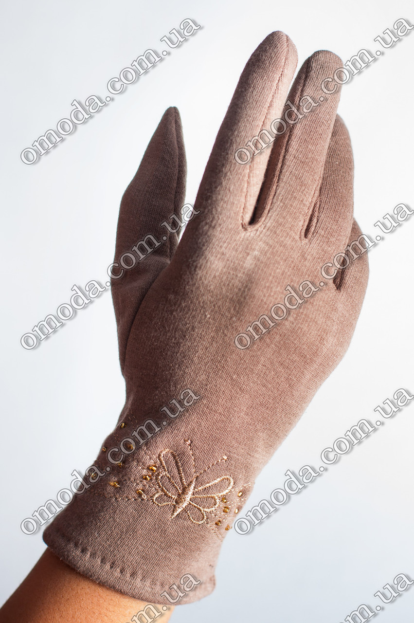 Женские трикотажные перчатки (стрейчевые) бежевые