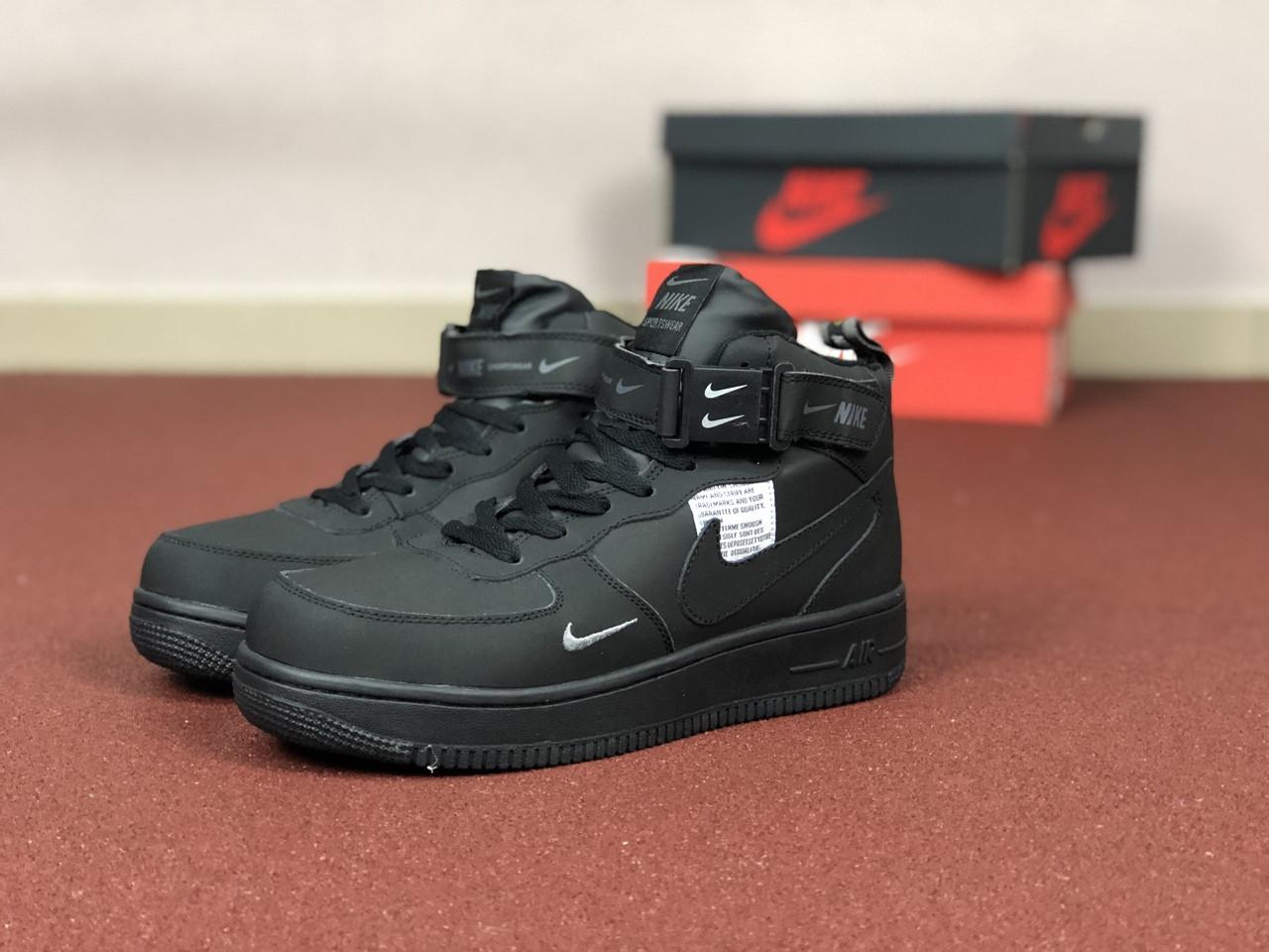 Подростковые \ женские зимние высокие кроссовки (в стиле) Nike Air Force,черные нубук