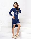 Платье трикотажное прямого кроя  с накатом и декорировано кружевом, 2цвета Р-р.42-46 Код 1042Б, фото 3