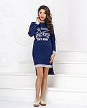 Платье трикотажное прямого кроя  с накатом и декорировано кружевом, 2цвета Р-р.42-46 Код 1042Б, фото 4