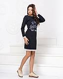 Платье трикотажное прямого кроя  с накатом и декорировано кружевом, 2цвета Р-р.42-46 Код 1042Б, фото 7