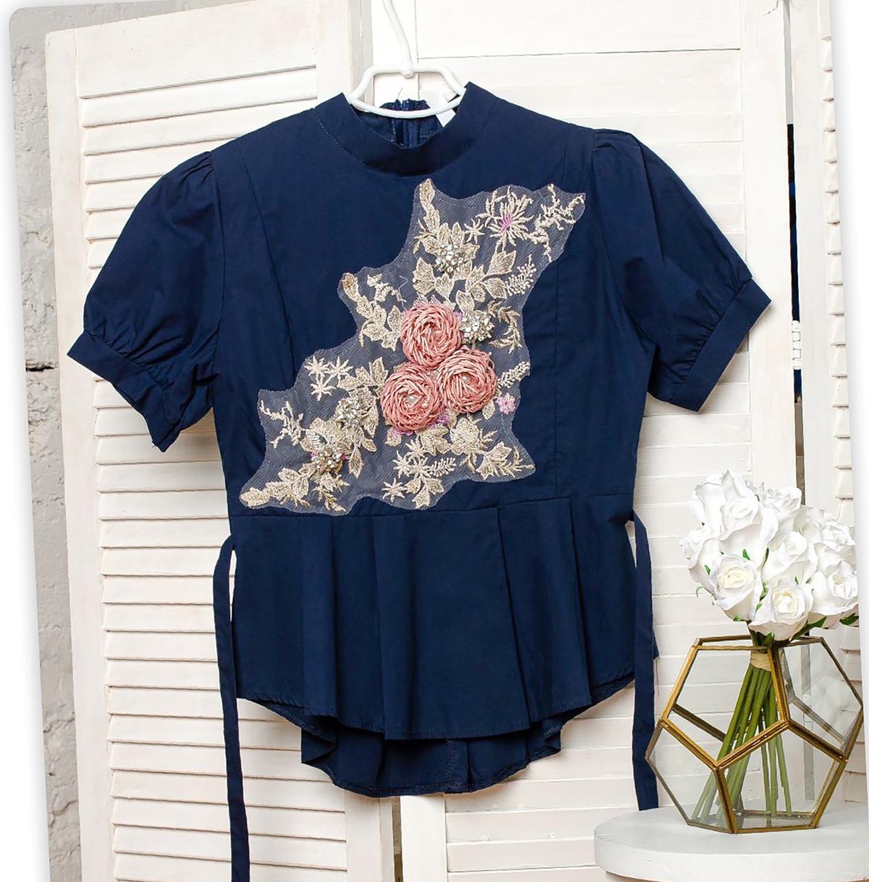 Молодежная рубашка с цветочной аппликацией 42-44 (в расцветках)