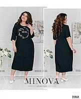 Стильное женское повседневное платье из льна в 2-ух цветах 52-58 разм