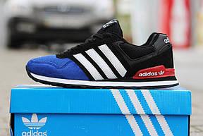 Подростковые \ женские кроссовки (в стиле) Адидас, Adidas темно синие с черным , фото 2