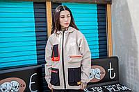 Женская куртка-ветровка Skatepark (Скейтпарк), бежевая с черным, код FL-122