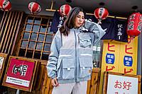 Женская куртка-ветровка Skatepark (Скейтпарк), голубая с белым, код FL-120