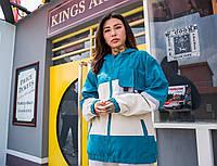 Женская куртка-ветровка Skatepark (Скейтпарк), синяя с белым, код FL-119