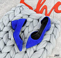 Шикарные замшевые туфли на каблучке 36-40 р электрик, фото 1