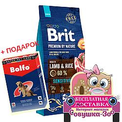 Корм Бріт Сенсітів з ягням і рисом для собак з чутливим травленням 15 кг