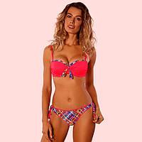 Яркий розовый купальник бандо  push-up, фото 1