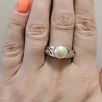 Серебряное кольцо с золотом и  жемчугом Перла, фото 1