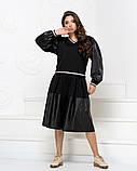 Стильный прогулочный  комбинированный костюм с широкой юбка-шорта и свитшот, 3цвета,  р.42-46,48-52 код 2111Б, фото 8