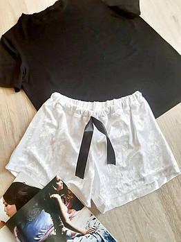 / Размер 42-44,46-48 / Женский домашний женский костюм Zefir / цвет черный/белый