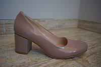 Кожаные Женские туфли на удобном каблуке. Цвет капучино