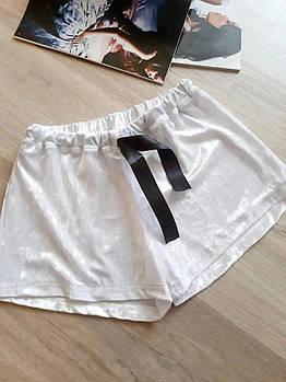 / Размер 42-44,46-48 / Женские домашние велюровые шорты короткие Trixi - цвет белый