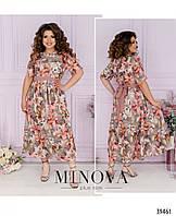 Красивое женское летнее платье в цветочном принте батал с 52 по 62 разм