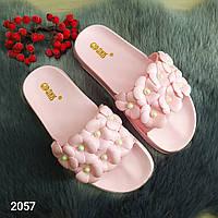 Шлепанцы женские сланцы розовые с цветами Гипанис