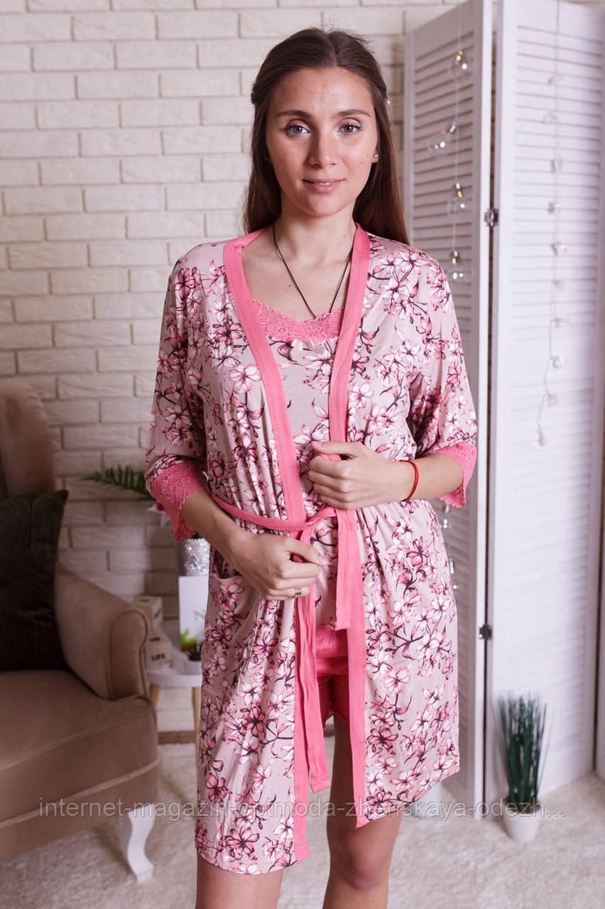 """Нежный домашний женский комплект тройка с цветами """"Камея"""""""
