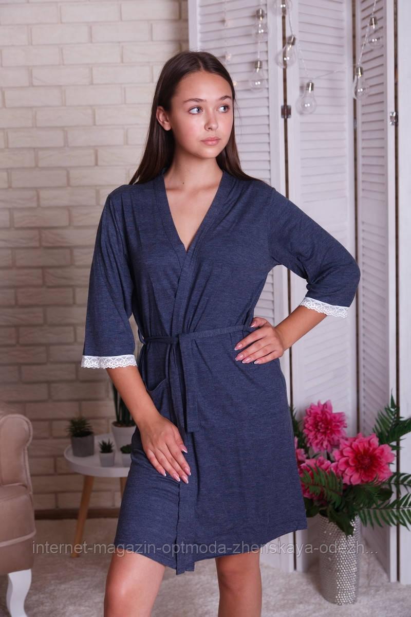 """Нереальний жіночий віскозний халат з мереживом на рукаві """"Каміла"""""""