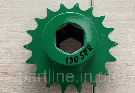 Звездочка John Deere z=18 (привода цепи колосового элеватора, нижняя) JD9500/2054-2266/9640-9780, AH130572