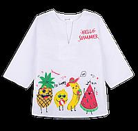 Детская рубашка-сорочка пляжная для девочки *Фрукты*